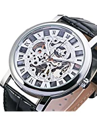 GuTe Dress Mens Silver Skeleton Mechanical Wristwatch Hand-wind Steampunk See-through