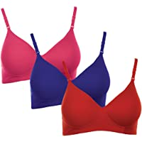 Softskin Women's Poly Cotton Padded T-shirt Non-wired Bra - Pack of 3