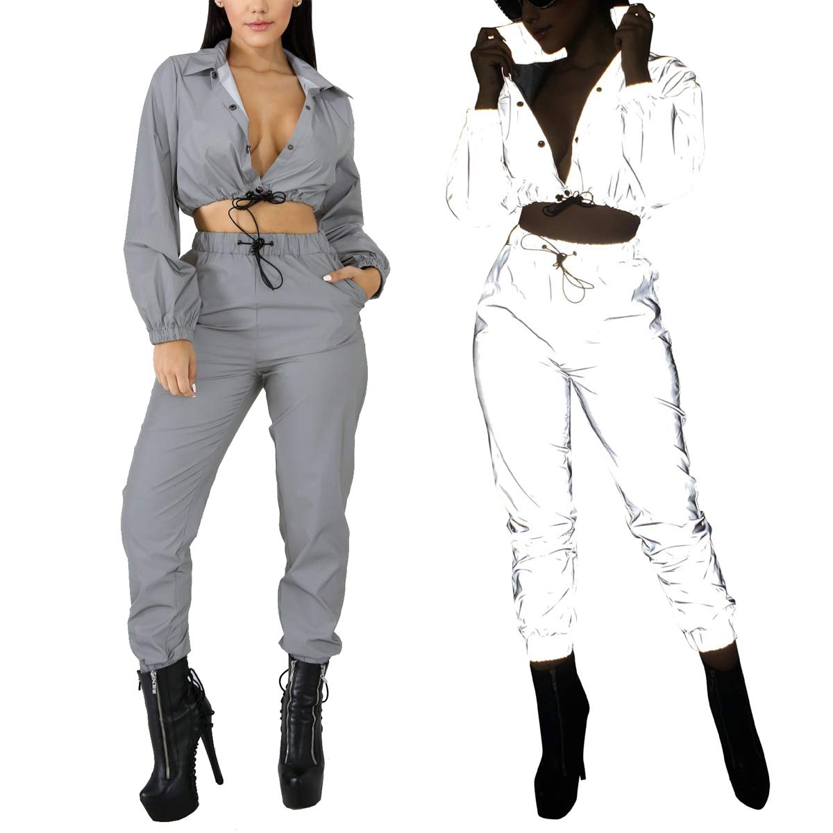 86a274a719e8 LKOUS Women's 2 Pieces Outfits Reflective Long Sleeve Jacket Crop Tops and  High Waist Long Pants Tracksuit Jumpsuit Set at Amazon Women's Clothing  store: