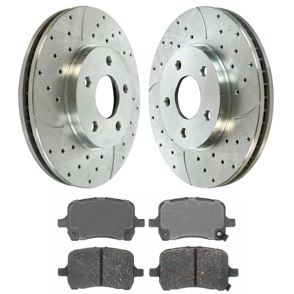 Prime Choice Auto Parts BRKPKG002348 Front Kit Drilled Slotted Brake Rotors & Ceramic Pads