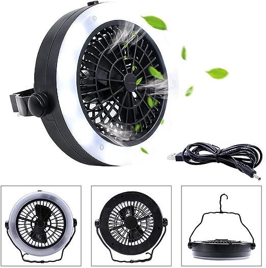 Instag LED Luz de Ventilador con Gancho para Acampar al Aire Libre Interior Senderismo Viajar Pesca Negro Ventilador LED Camping Linterna 3 en 1 USB Recargable,chargingparagraph: Amazon.es: Hogar