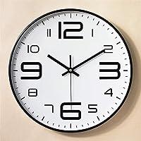 Gigicloud 12inch Round Wall Clock Bedroom Kitchen Quartz Silent Sweep Movement Clocks Black Frame on White