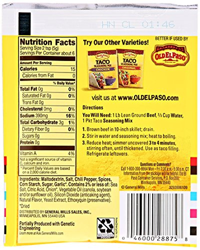 Old El Paso Hot & Spicy Taco Seasoning Mix 1 oz. Packet by Old El Paso (Image #3)