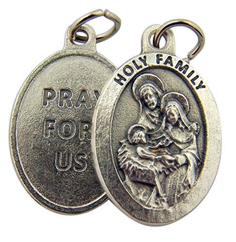 (Silver Toned Base The Holy Family Pray for Us Medal Pendant, 1 Inch)