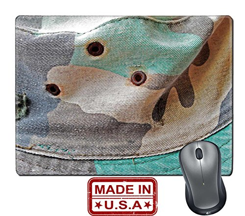 "Liili Natural Rubber Mouse Pad/Mat with Stitched Edges 9.8"" x 7.9"" closeup of old military hat IMAGE ID 15075916 (Fight Military Hat)"