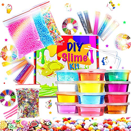 DIY Slime Kit Slime Supplies for Girls Boys Clear Slime for Kids with Glitter Jar Foam Bead and Unicorn Toys for Slime Making kit Aged 6+ (Things 10 Year Olds Want For Christmas)