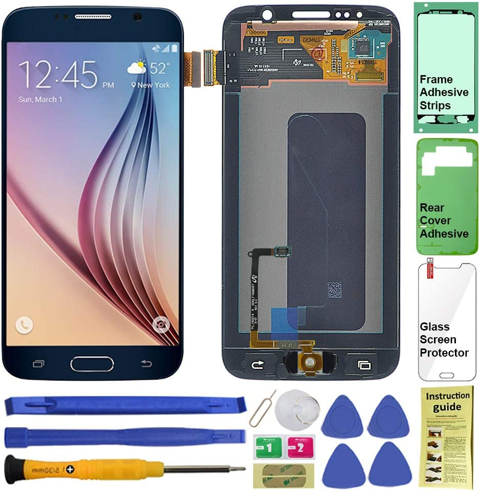 Display Touch Screen (AMOLED) Digitizer Assembly with Home Button for Samsung Galaxy S6 (5.1 inch) G9200 G920A G920P G920T G920V G920R4 G920F G920I G9208 G920K G920L G920S (Black)