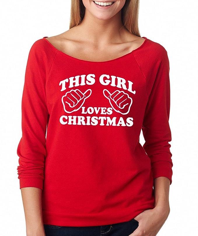 amazoncom signaturetshirts womens this girl loves christmas raglan t shirt clothing - Disney Christmas Shirts