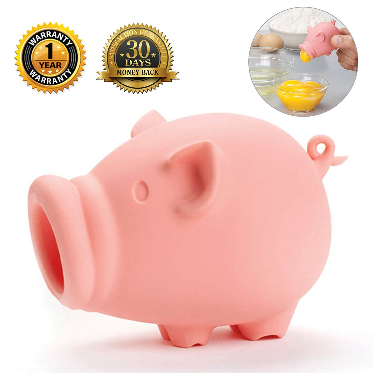 Egg Separator Food Grade Silicone Egg Separator Pig Yolk Extractor Divider Kitchen Tool Gadget Cooking Baking Tool Egg Extractor Pig Lips Release Remove Egg Yolks with Ease