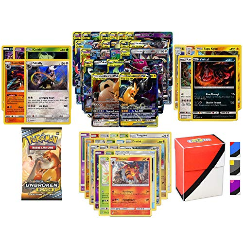 Pokemon GX Guaranteed with Booster Pack, 5 Rare Cards, 5 Holo/Reverse Holo Cards, 20 Regular Pokemon Cards and Totem Deck Box (Mega Pokemon Booster Packs)