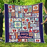 VTH Global Button Christmas Quilt Pattern Blanket All-Season Quilts Comforters with Reversible Cotton King Queen Full Twin Size Quilted Campers Gifts RV Camping Lovers