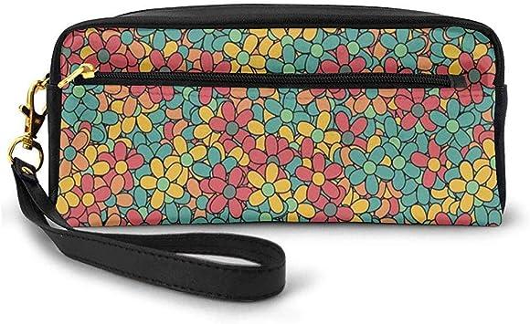 Flores de Estilo Retro de Color Doodle Concepto de Hippie Maravilloso Tema de Paz y Amor Pequeña Bolsa de Maquillaje Estuche de lápices 20cm * 5.5cm * 8.5cm: Amazon.es: Equipaje
