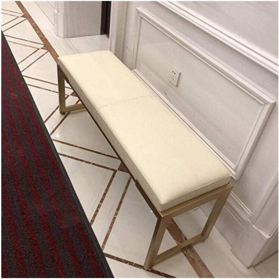 LXESWM Escabel Otomana Sofá Bench Bench Zapatos PU Banqueta De Cuero Otomana Hierro Forjado Sofá Cama Dormitorio Heces Entrada Fin De Heces (Color : White, Size : 100cm)