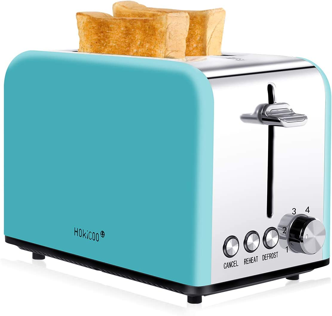 Toaster 2 Slice, HOKICOO Wide Slice Toaster, Retro Small Toaster Wide Slot with Bagel, Cancel, Defrost Function, Compact Stainless Steel Toasters for Bread Waffles (FDA Approved)