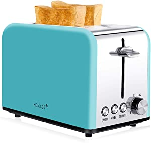 Toaster 2 Slice, HOKICOO Wide Slot Toaster with 7 Bread Shade Settings & Removable Crumb Tray, Compact Stainless Steel Toaster