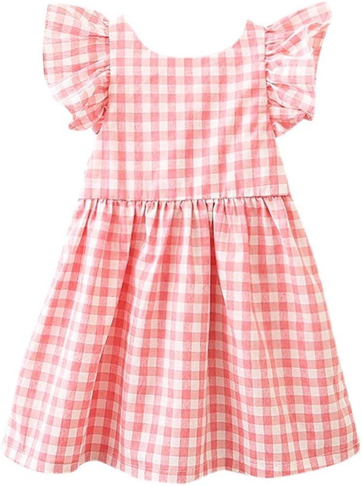 2019 Nuovo Bambini Infant Girls Plaid Print Bowknot Strap Backless Princess Dress Clothes Abiti Bambino Ragazze Denim Vestito Lungo Manica Principessa Tutu Vestitoiaccetto