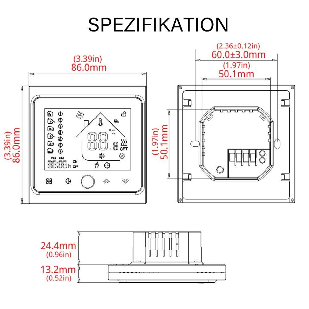 MOES Smart Thermostat WiFi Temperaturregler Smart Life//Tuya APP Fernbedienung f/ür Wasser Gas Boiler Heizung 5+1+1 Programmierbar, Kompatibel mit Alexa Google Home Schwarz