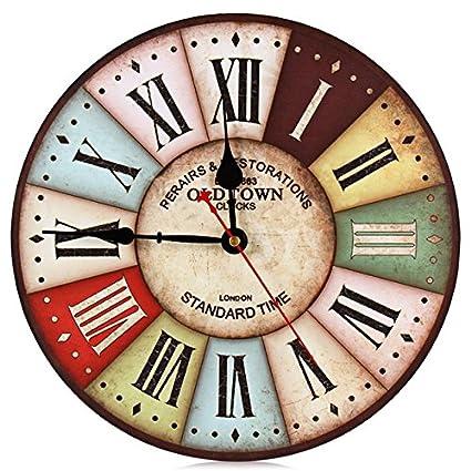 Reloj de pared números 12 pulgadas Vintage colorido Francia Paris país francés estilo Toscano árabe diseño