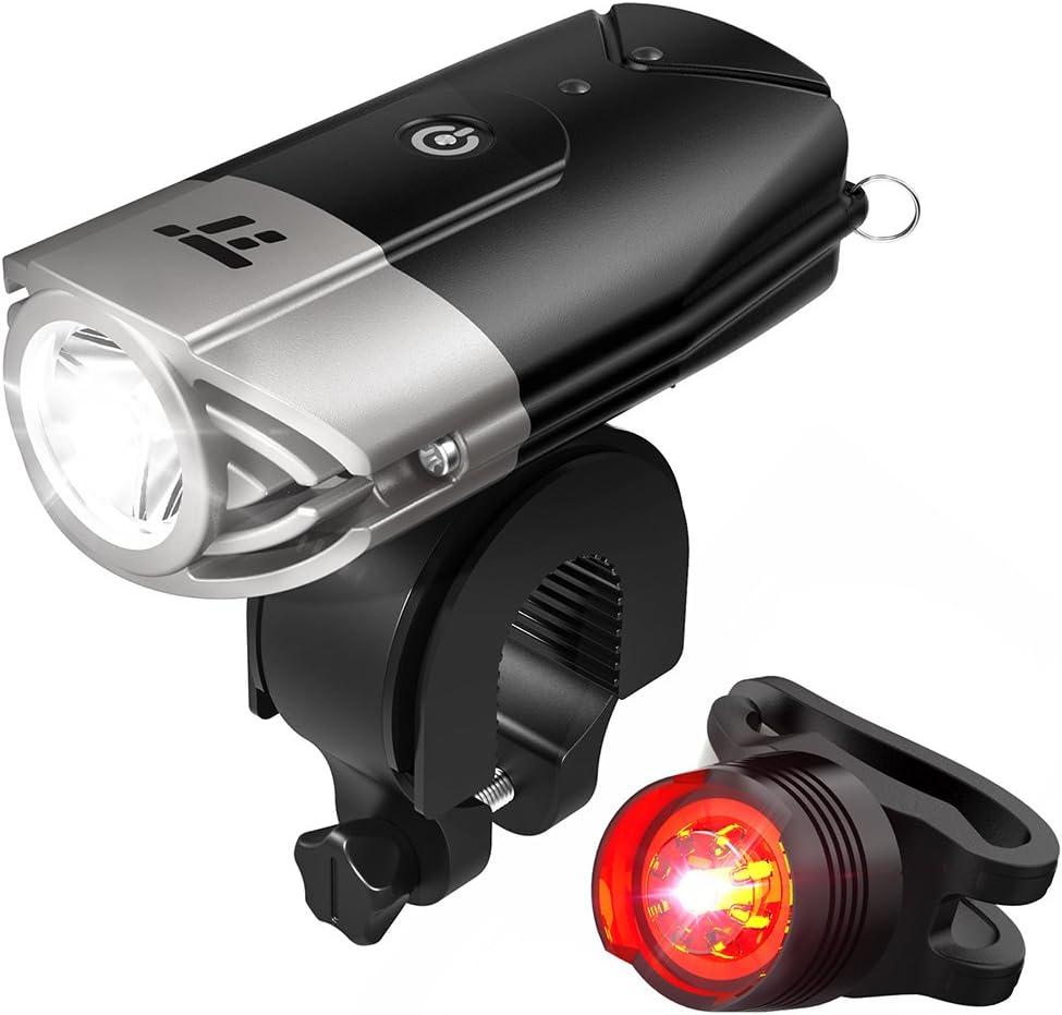 TaoTronics TT-HP007 LED Bike Lights Front & Back, 700 Lumens Bicycle Lights, Rechargeable Bike Light Set, Bike Headlight, IP65 Waterproof, Cree LED, Free Tail Light & Helmet Mount Include