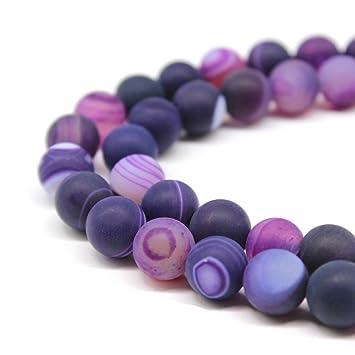 Jartc Naturel Bleu givr/é ray/é Agate Spacer Perles pour DIY Bijoux Bracelet Collier 38,1/cm 6mm bleu