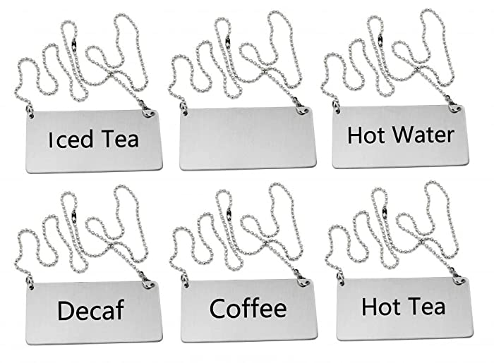 New Star Foodservice 27549 Stainless Steel Table Tent Chain Sign Combo, Includes (Coffee), (Decaf), (Hot Tea), (Iced Tea), (Hot Water), and (Blank), 3.5