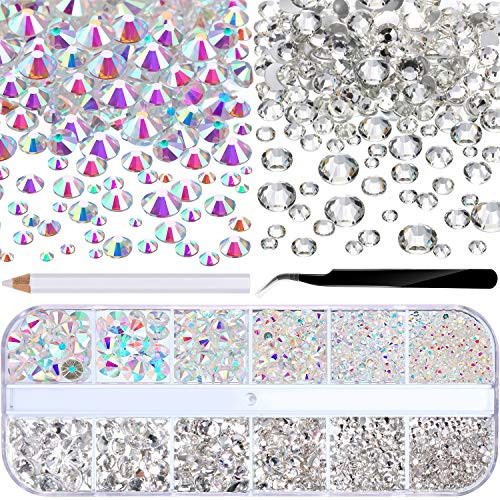 3510 Pieces Flat Back Gems Round Crystal