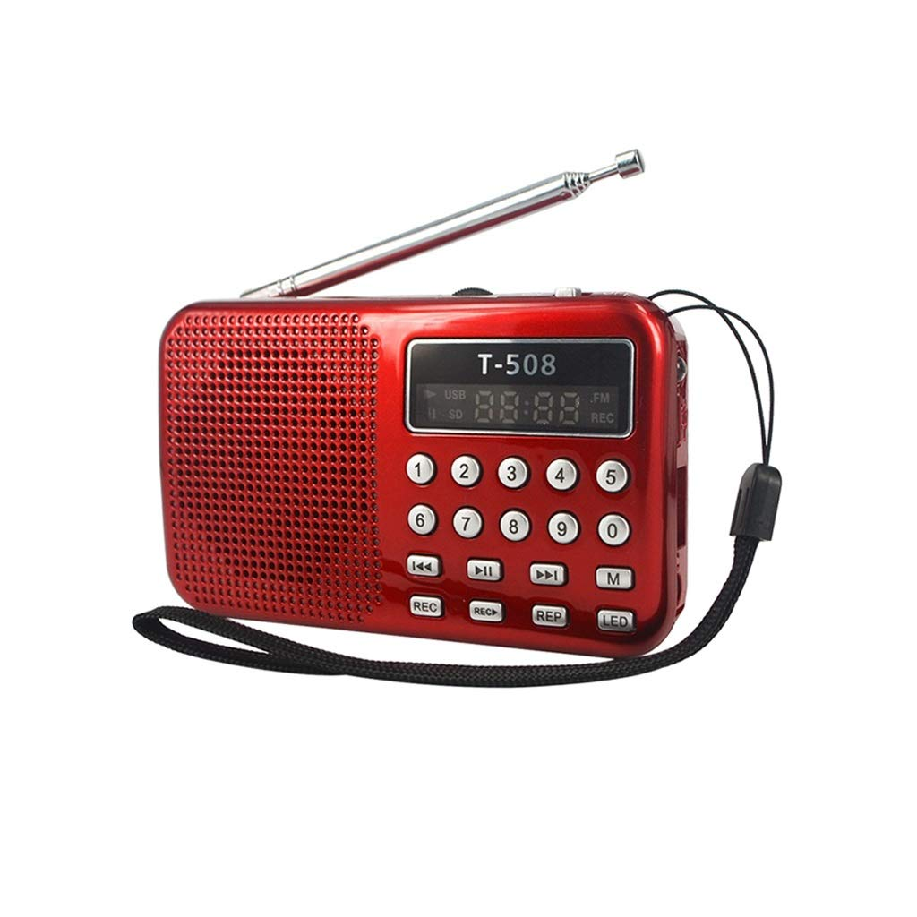 ZWS Radio LED Stereo FM Radio Speaker USB Port TF Card MP3 Music Player with 50mm Internal Magnetic Current Affairs Information (Color : Red) by ZWS