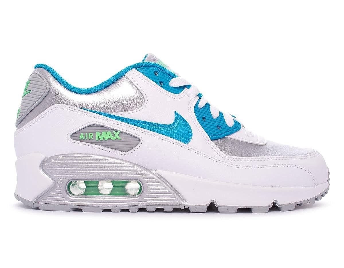 90c7d7391b16 Amazon.com  Nike Youths Air Max 90 White Silver Leather White Silver  Leather Trainers 36.5 EU  Shoes