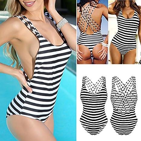 54170a67f8bda Amazon.com   Ziaxa(TM) New White Black Striped Padded Strap Monokini Sexy  Bandage Backless Swimwear One Piece Swimsuit Plus Size Bikini   Sports    Outdoors