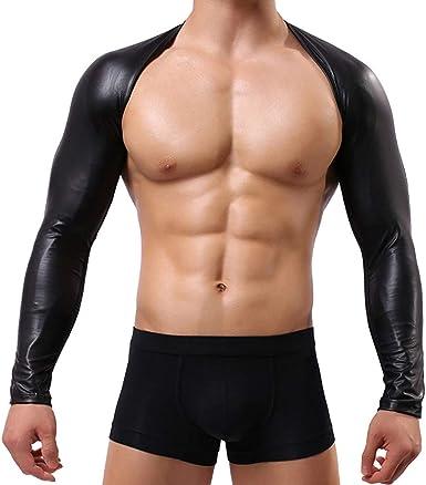 QinMM Hombres Sexy Tops Cuero de imitación Malla Camiseta Ropa Interior Club Camisa Blusa erótica: Amazon.es: Ropa y accesorios