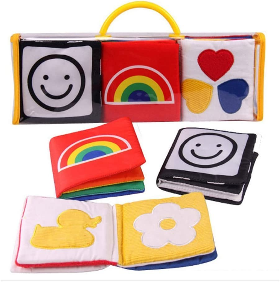 Xrten Libro Blando para Bebé Suave Aprendizaje y Educativo - 3Pcs