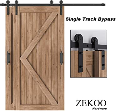 Amazon Com Zekoo 4 Ft 12 Ft Bypass Sliding Barn Door Hardware Kit Single Track Double Wooden Doors Use Flat Track Roller One Piece Rail Low Ceiling 8ft Single Track Bypass Home Improvement
