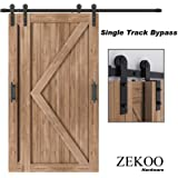 ZEKOO 4FT -12 FT Bypass Sliding Barn Door Hardware Kit, Single Track, Double Wooden Doors Use, Flat Track Roller, One-Piece Rail Low Ceiling (6.6FT Single Track Bypass)