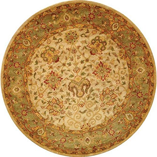 Safavieh Antiquities Collection AT21F Handmade Traditional Oriental Ivory Wool Round Area Rug (6′ Diameter)