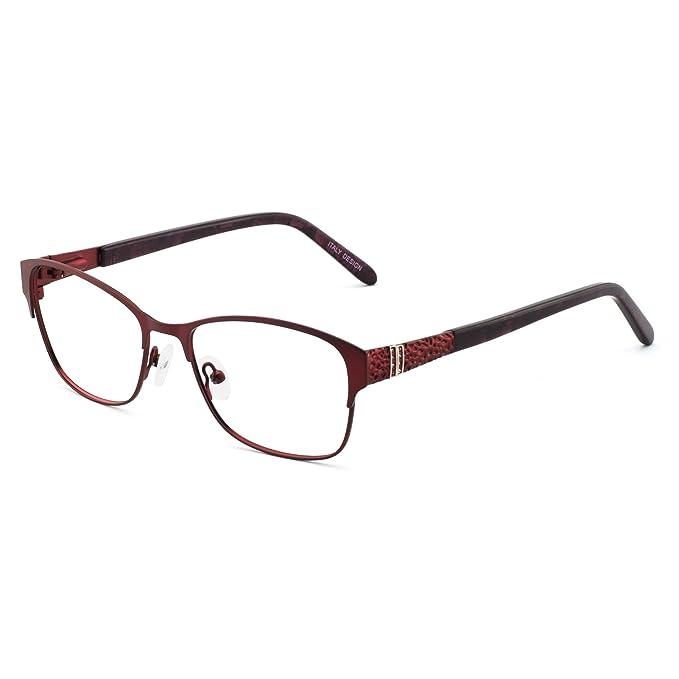 6ba9410b6e3 Glasses Frame Optical eyewear Frame Womens Rectangle Stylish Eyewear Frame  Non-Prescription Clear Lenses  Amazon.co.uk  Clothing