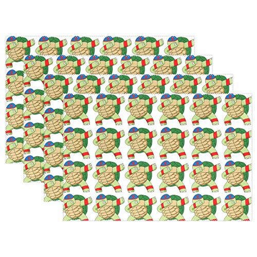 Charl Wil Washable Placemat Dabbing Turtle Cool Heat-Resistant Easy to Wipe Clean Placemat for Dining Table Polyester Durable Kitchen Table Mats Indoor/Outdoor -