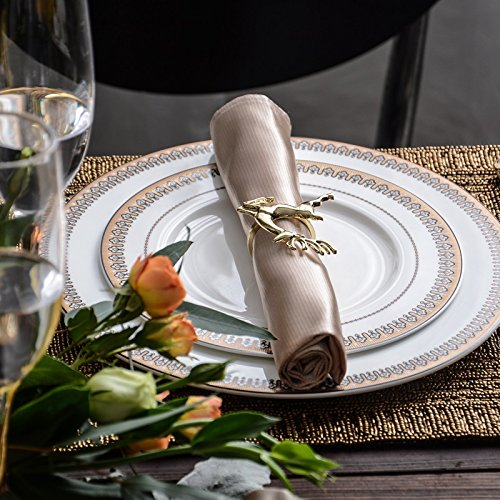 Elehere Holiday Gold Napkin Rings Holders Set of 6 for Christmas Thanksgiving Wedding, Stainless Steel Dinner Parties Home Table Decoration (Gold Deerlet)