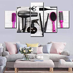 Beauty Salon Pictures Wall Decor of Hair Hairdressing Tools Wall Art Contemporary Artwork 5 Panel Printed on Canvas Pink Paintings for Home Giclee Framed Ready to Hang in Living Room(60''Wx32''H)