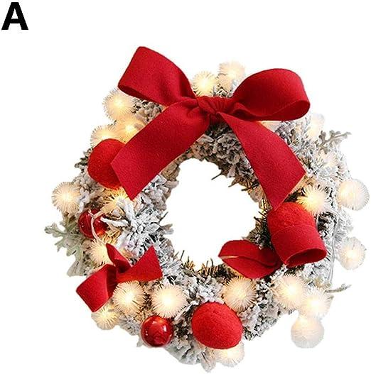 Wapern Guirlandes Fleurs Artificielles Couronne De Noël XMas À L\u0027intérieur  Et L\u0027extérieur Idéal Déco Noël Pour Magasins,bureaux,sapin De Noël Ou DIY.