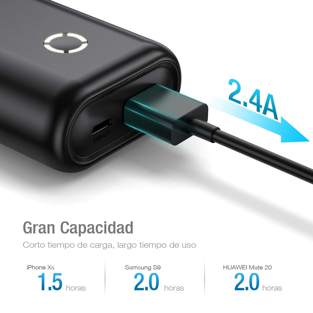 POWERADD Energy Cell 10000mAh Batería Externa Power Bank Cargador Portátil Salida de 2.4A para iPhone,Samsung,Tablets y más Dispositivos-Negro