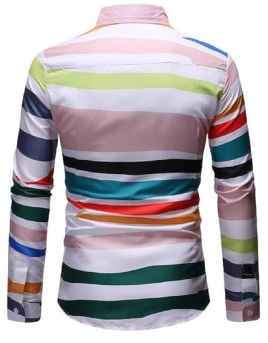 Zantt Mens Shirts Casual Long Sleeve Stripe Print Button Down Dress Work Shirt