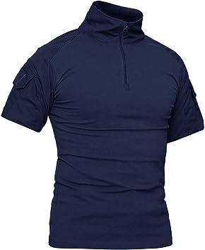KEFITEVD Camiseta de Hombre Camisa de Combate de Manga Corta Camisa de ejército táctica Camuflaje Slim Fit Verano: Amazon.es: Deportes y aire libre