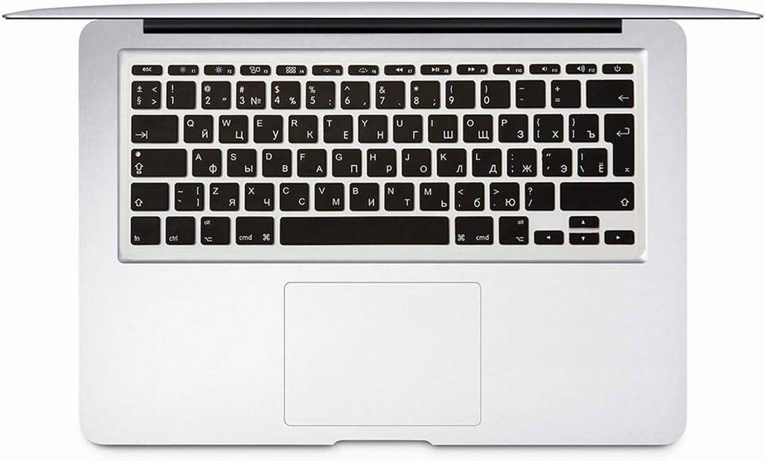 for MacBook Air 11 Inch Russian Keyboard Film EU Silicone Keyboard Protector Cover for Air11.6 A1465 A1370 Ru,Black