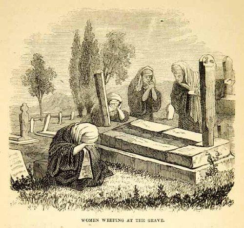 1858 Wood Engraving Art Arabic Women Graveyard Tombstone Middle East Portrait - Original In-Text Wood Engraving