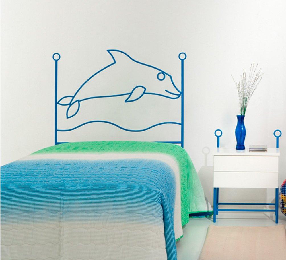 Promoción por tiempo limitado MuebleTienda Cabecero de forja Mod. DELFíN (105 centímetros, Azul)