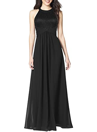 dfef9c832fb2 WOOSEA Women's Casual Floral Lace Halter Neck Sleeveless Vintage Wedding Maxi  Dress (Black, Large