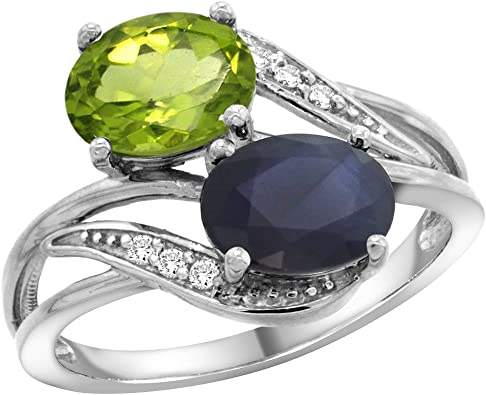 14k White Gold Peridot Diamond Ring Size 7 Length Width 2
