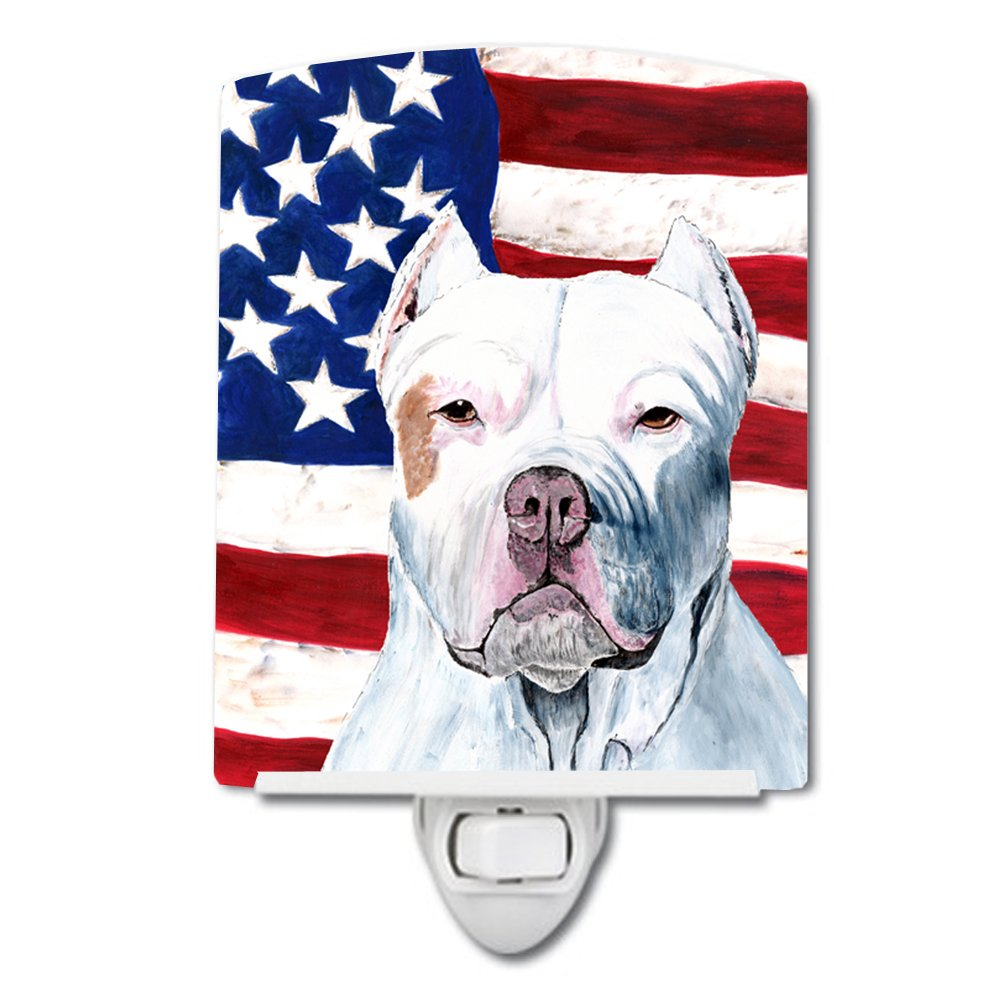 Caroline's Treasures USA American Flag with Pit Bull Night Light, 6'' x 4'', Multicolor