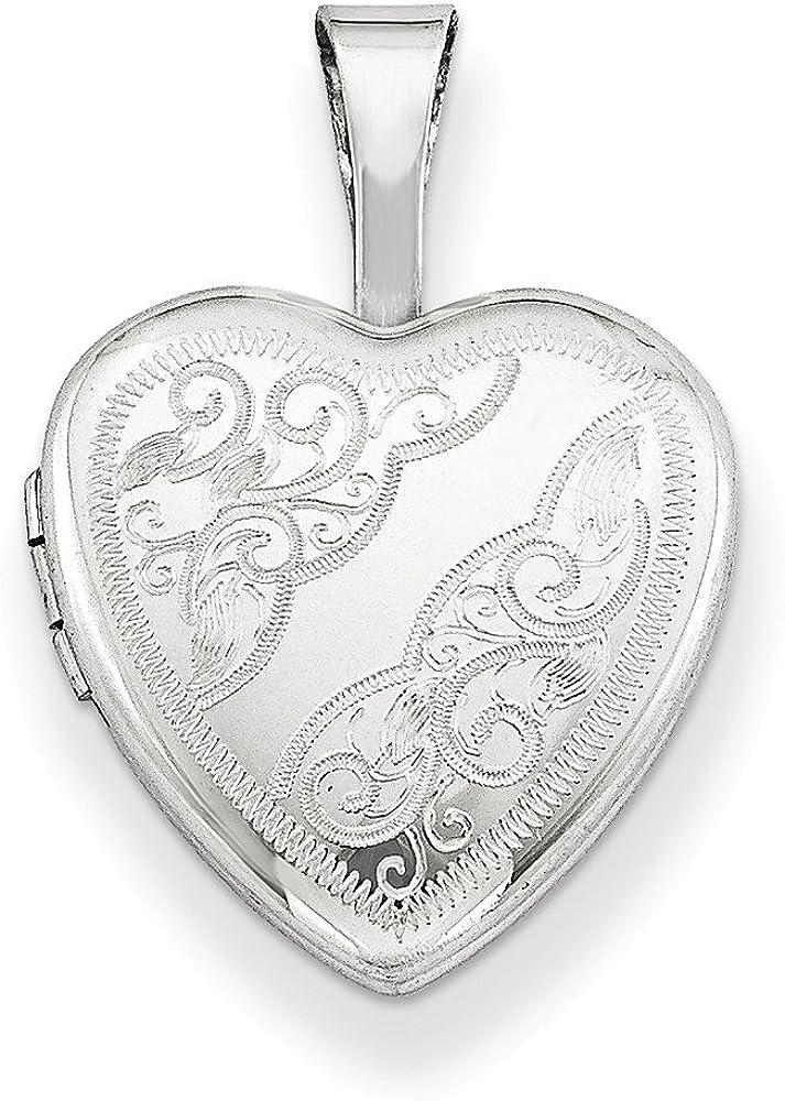 .925 Sterling Silver Side Swirls Heart Locket Charm Pendant