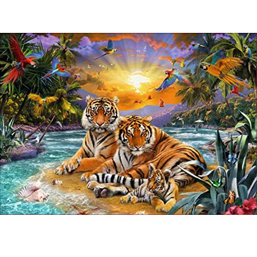 MXJSUA DIY 5D Diamond Painting by Number Kits Full Drill Rhinestone Embroidery Cross Stitch Pictures Arts Craft for Home Wall Decor 12x16In Riverside Tiger Family ()